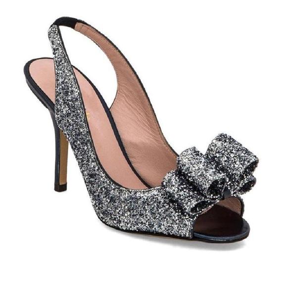 09ec747d26f kate spade Shoes -  Kate Spade  Charm Glitter Bow Slingback Heels